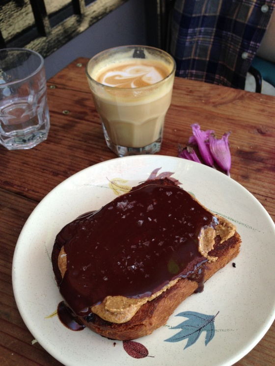 At Sqirl - Warm brioche toast, almond butter, guittard chocolate sauce, Fleur de sell ... Just exquisite