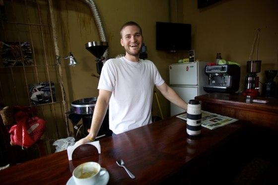My friend Wesley who runs my favorite coffee shop in Antigua, we exchanged stories