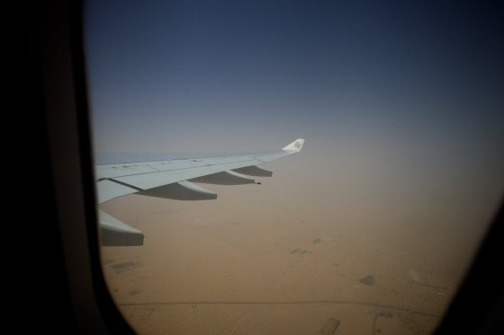 110 degree departure from Dubai with blowing sand