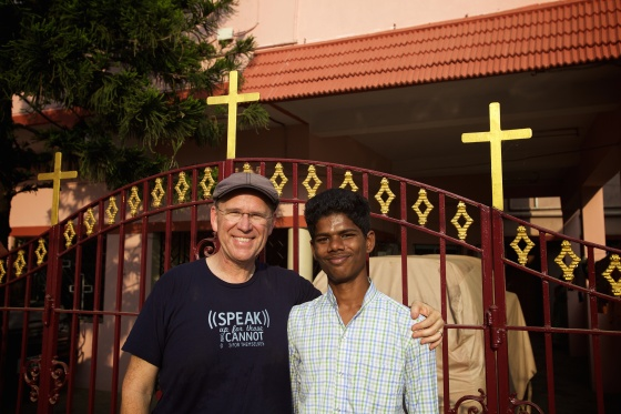 Photo with Sathish during my visit this year to see him in India.