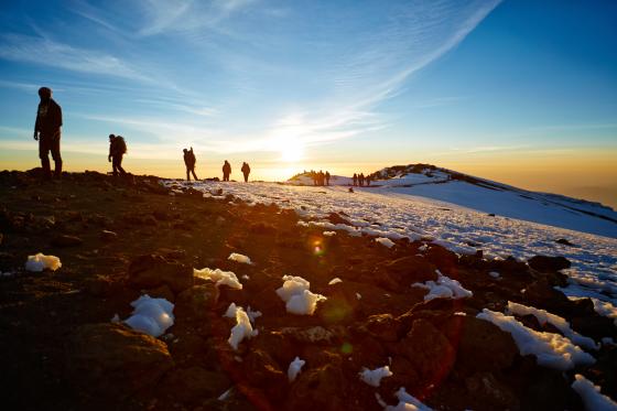 mountain-climbing snows and sunrise
