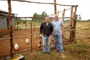 Joe and Rick in front of the chicken coup addition at Kidmia